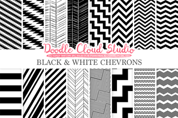 Black and White Chevron digital paper, Chevron and Stripes  pattern, tribal