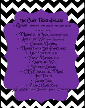 Black and White Chevron with Purple Accents Classroom Packet