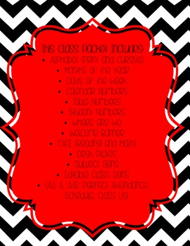 Black and White Chevron with Red Accents Classroom Packet