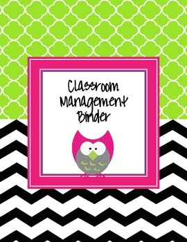 Black and White Chevron with an owl Editable Classroom Management Binde