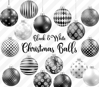 Black and White Christmas Baubles, Balls and Ornaments Clipart