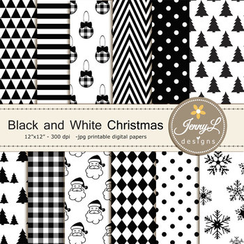 Black and White Christmas Digital Papers & Cliparts