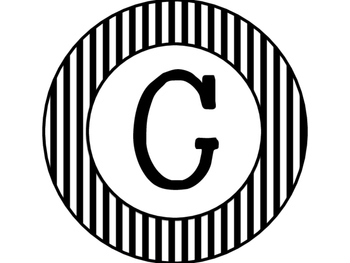 Black and White Circle Word Wall Letters