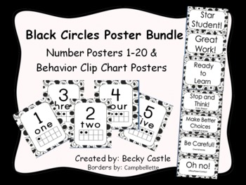 Black and White Circles Numbers 1-20 & Behavior Clip Chart Posters