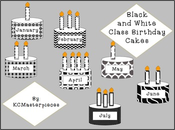 Black and White Class Birthday Cakes