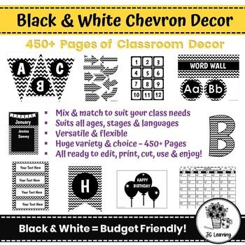Black and White Classroom Decor | Chevron | Bulletin Board Letters | Templates