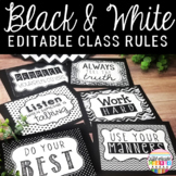 Black and White Classroom Decor Rules Editable
