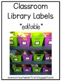 First Grade Classroom Library Labels: Black and White