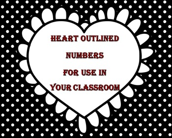 Black and White Classroom Number Set - Hearts