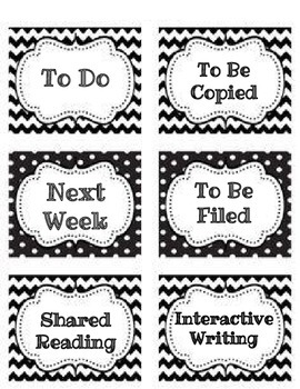 Black and White Classroom Organization Labels