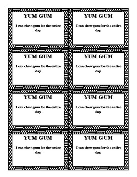 Black and White Classroom Reward Coupons