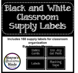 Black and White Classroom Supply Labels