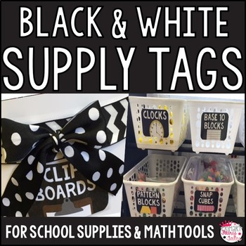 Black and White Classroom Supply Tag