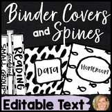 Black and White Classroom Theme Binder Covers and Spines Editable-Teacher Planne