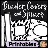 Black and White Classroom Theme Binder Covers and Spines Printable-Teacher Plann