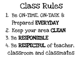 Black and White Classroom rules poster