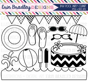 Black and White Clipart - Pool Party