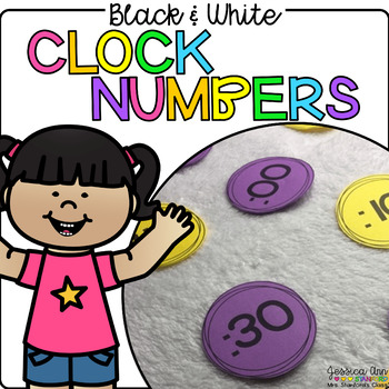 Black and White Clock Numbers