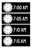 Black and White Clocks for Schedule