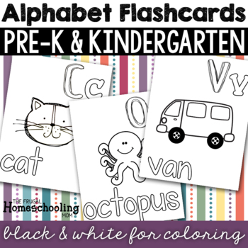 Black and White Coloring Alphabet Flashcards or Posters