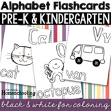 Black and White Coloring Alphabet Flashcards or Posters -