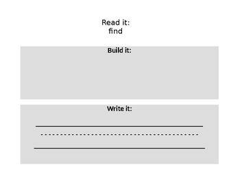 Black and White Copy of Read it, Build it, Write it, - practice mats