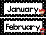 Black and White Cowboys 12 Months of the Year Labels.