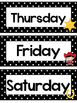 Black and White Cowboys Days of the Week Labels.
