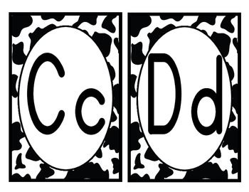 Black and White Cowprint ABC with Red Vowels