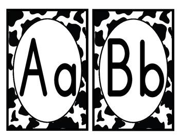 Black and White Cowprint Alphabet