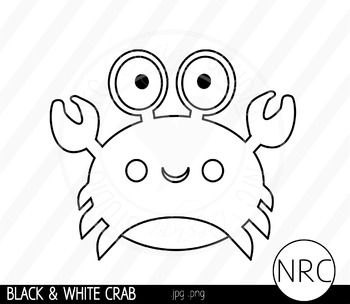 Black and White Crab Clip Art- Commercial Use Clipart