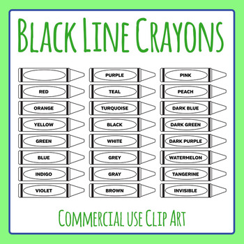 Black and White Crayons / Color Icons Clip Art for Commercial Use