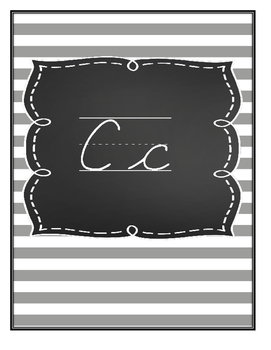 Black and White Cursive Alphabet Letters