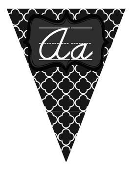 Black and White Cursive Alphabet Pennant Banner