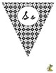Black and White Cursive Pennants v.2 (all triangles)