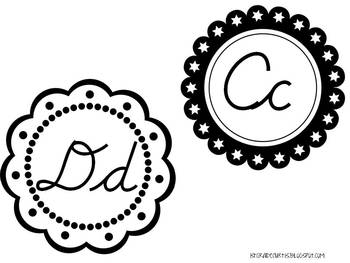 Black and White Cursive Word Wall