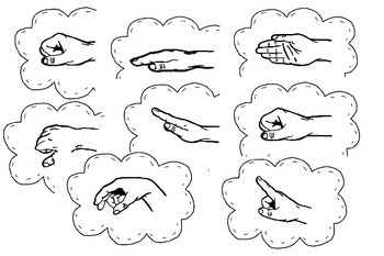 Black and White Curwen Hand Sign Posters with and without solfege syllables