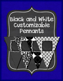 Black and White Customizable Pennants Banners