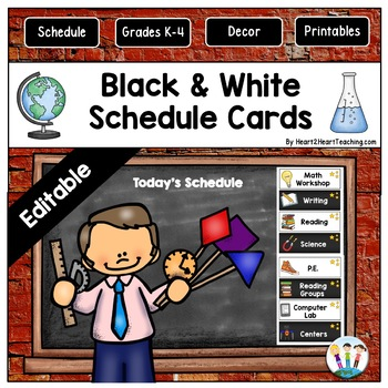 Black and White Daily Schedule Cards {EDITABLE}