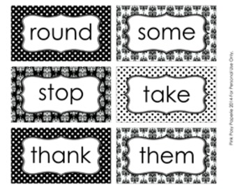Black and White Damask 1st Grade Dolch Sight Wall Words