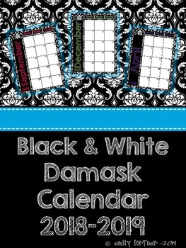 Black and White Damask 2016-2017 School Year Calendar