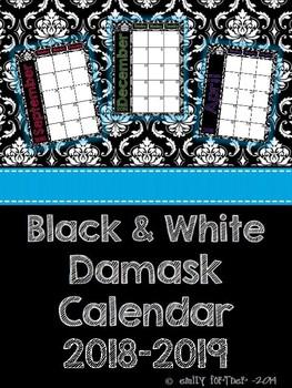 Black and White Damask 2017-2018 School Year Calendar