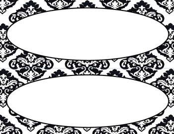 Black and White Damask Classroom Labels and Tags