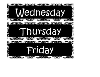 Black and White Damask Days of the week