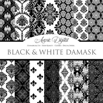 Black and White Damask Digital Paper patterns - ornate backgrounds