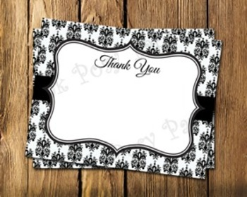 Black and White Damask Flat Thank You Note Cards