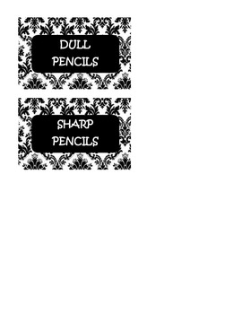 Black and White Damask Pencil can Tags