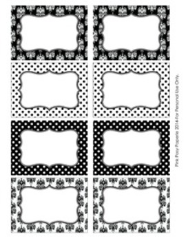 Black and White Damask and Dot Bin Tag Labels