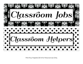 Black and White Damask and Dot Classroom Job Helpers Set