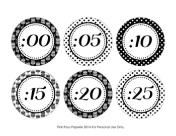 Black and White Damask and Dot Clock Number Labels